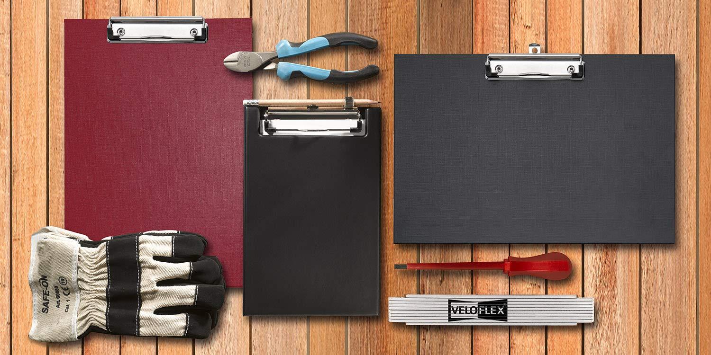 schwarz PVC Klemmbrett Veloflex 4805080 Clipboard DIN A5 mit Deckel und Klarsichttasche innen