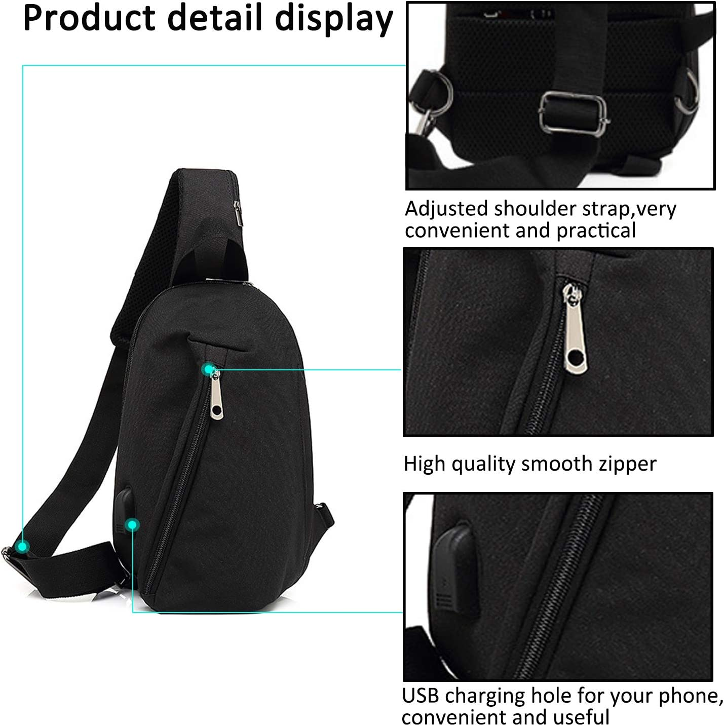 XIMSTAR crossbody chest bag small size mens shoulder bag lightweight sling casual daypack with usb charging port