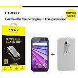 FOSO Motorola ( 3rd Generation Moto G3 ) / ( Moto G Turbo ) Round Curved 9H Hardness Toughened Tempered Glass Screen Protector (2015 Model / Dual SIM Version)