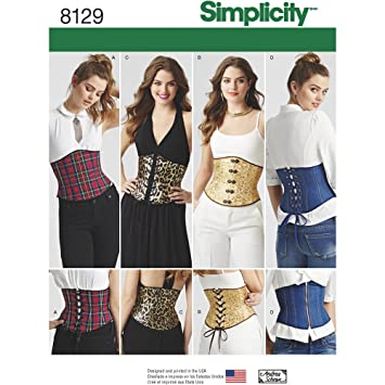 Simplicity Muster 8129 Misses \'Easy Taillenmieder Korsetts ...