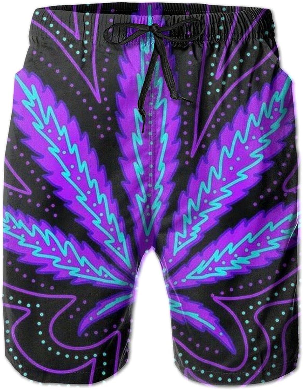 HARLEY BURTON Pantalones cortos de natación para hombre, marihuana psicodélica, color violeta neón, de secado rápido, pantalones cortos de tabla de surf y playa con cordón ajustable