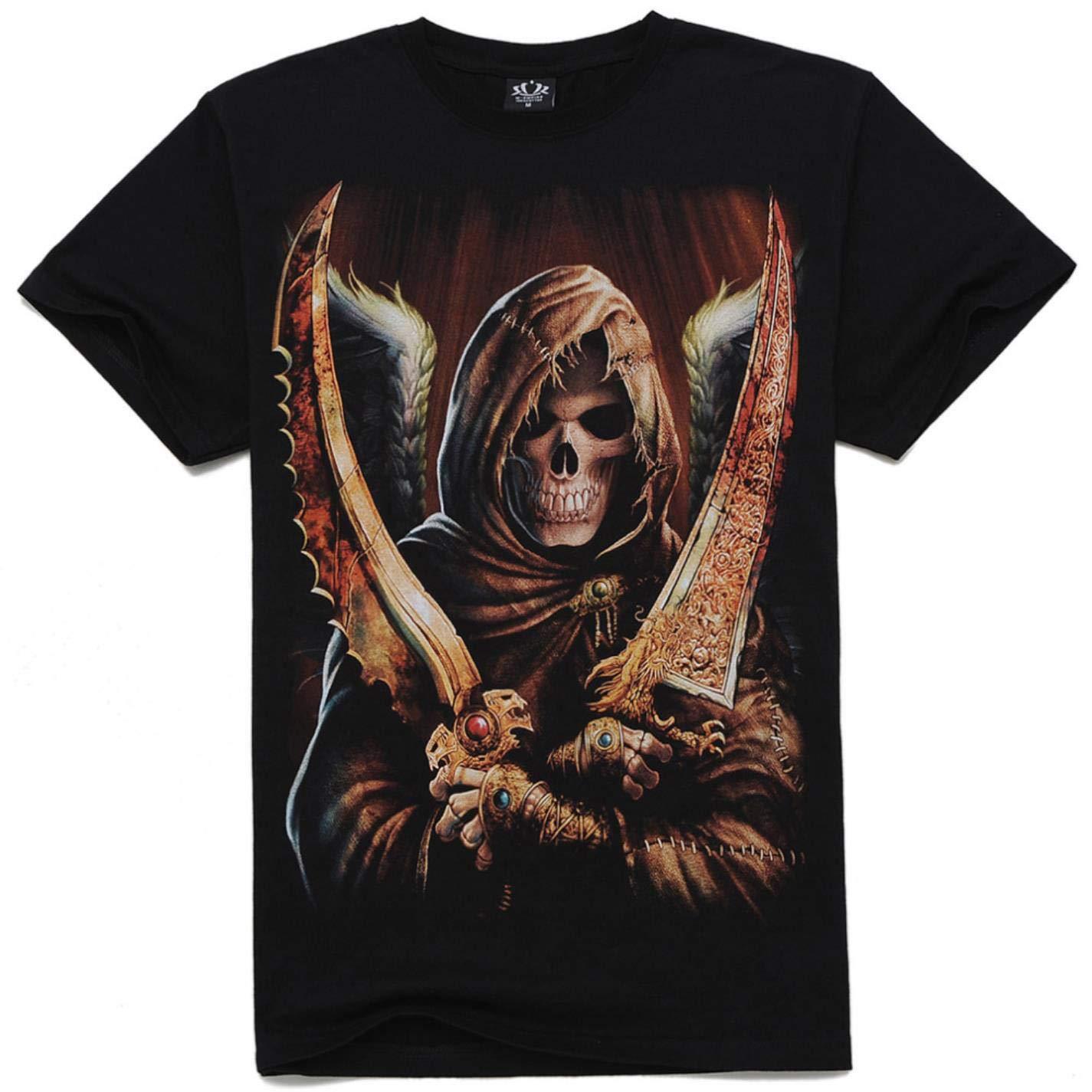 NNQT Mens 3D Death Skull Printed T-Shirt Dark Style Clothing Cotton