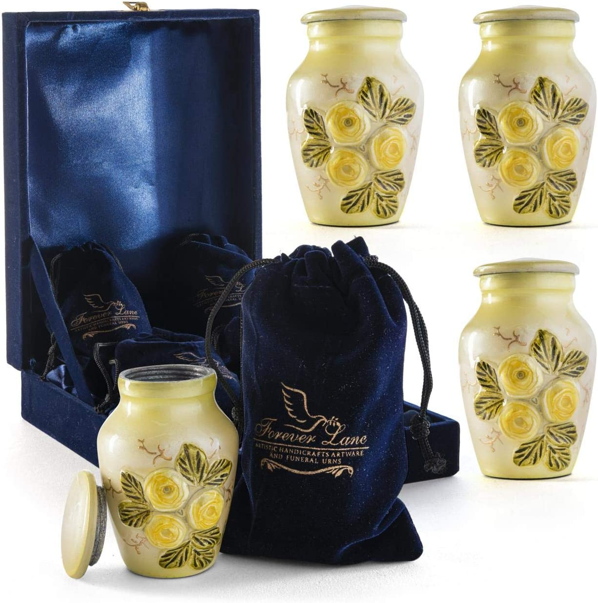 Foreverlane Beautiful Small Keepsake Urn for Human Ashes Yellow Rose Flower, Unique Handmade Mini Keepsake urn with Case and 4 Individual Velvet Bags