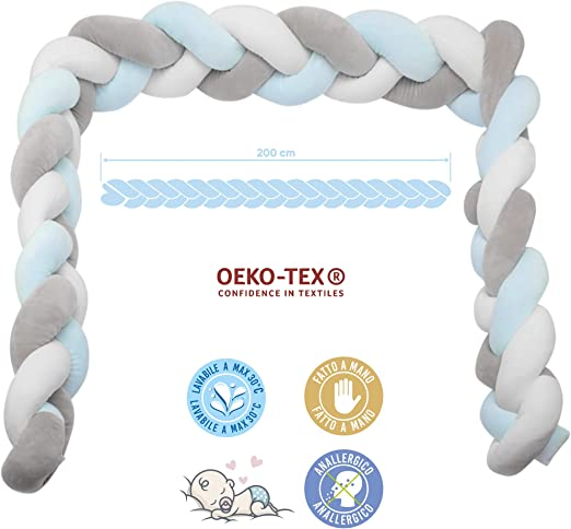 E4M Tour de lit tress/é tour de lit 4 c/ôt/és cadeau 4 lacets pour fixation sac de lavage hypoallerg/énique certifi/é Oeko-Tex /® 200-CM VERDE