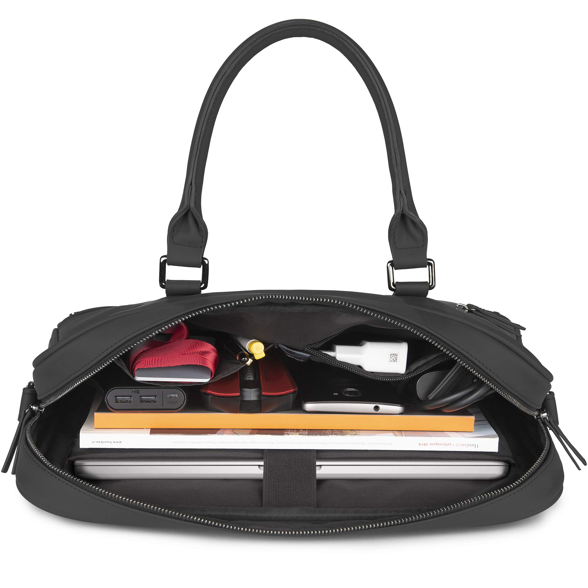 The Friendly Swede 13 inch Slim Laptop Bag for Women and Men - Shoulder Strap, Minimalist Notebook Executive Computer Case Business Briefcase, Vegan PU - VRETA by The Friendly Swede (Image #5)