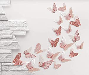Unves 3D Butterfly Wall Stickers, 48 PCS Rose Gold DIY Butterflies Wall Decor Set, Removable Metallic Paper Butterfly Stickers for Wedding Party Room Kids Bedroom Butterfly Decorations