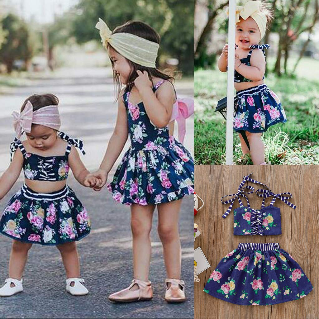 NIHAI 2Pcs Little Girls Baby Kids Sleeveless Flower Striped Suspender Vest Top Tutu Shorts Skirt Outfits Set