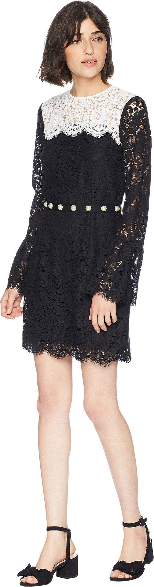 Juicy Couture Women's Color Block Lace Bell Sleeve Dress Pitch Black Angel 0