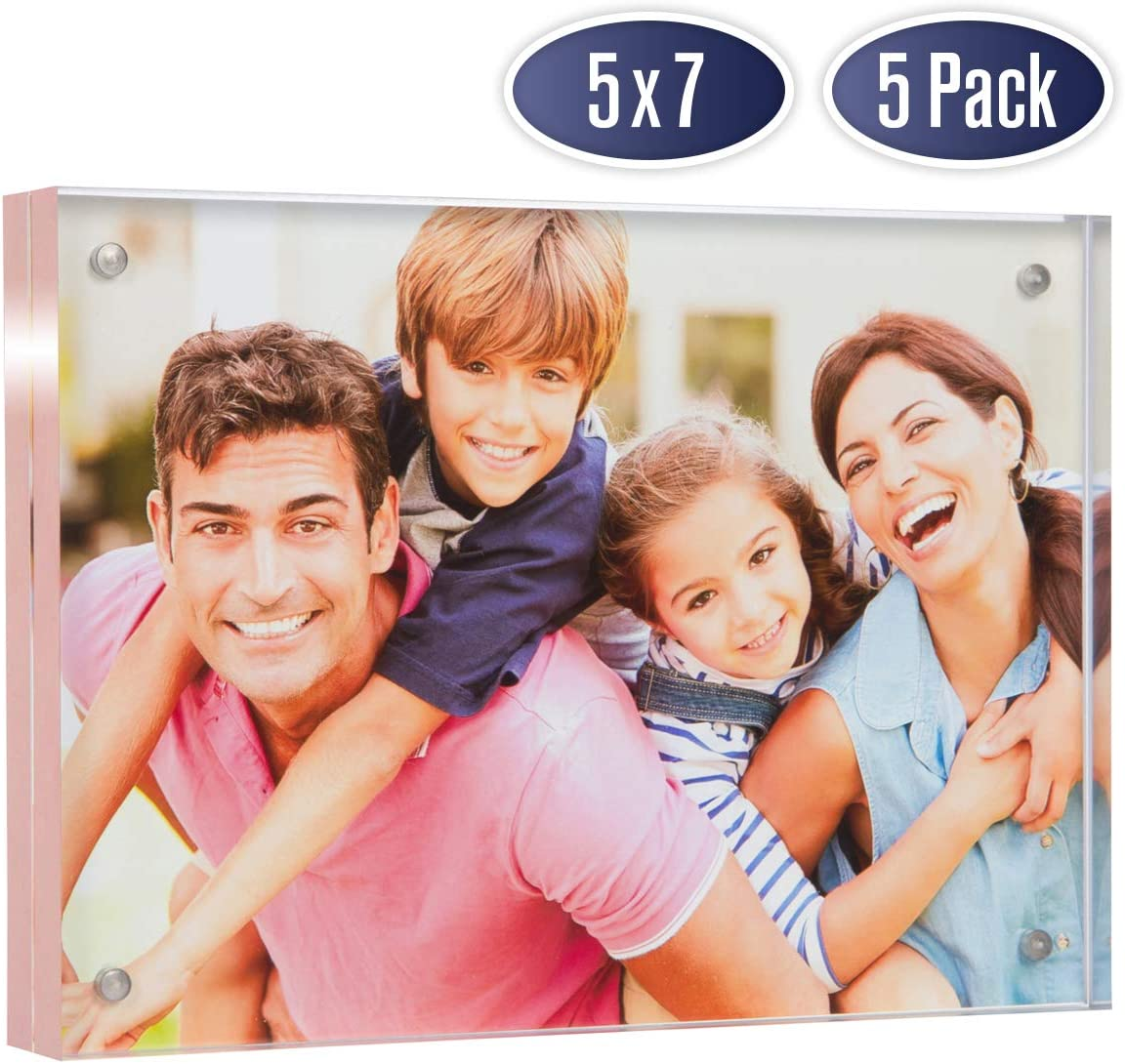 Acrylic Picture Frame 5x7 with Rose Gold Edges - Double Sided Magnetic Photo Frame, 24 mm Thick Clear Picture Frame, 5 x 7 Inches Acrylic Frame, Modern and Self Standing for Desktop Display (5 Pack)