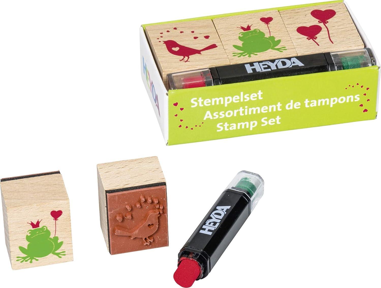 3 Holz-Stempel Liebe Setgr/ö/ße: 8 x 4,5 x 2,5 cm Heyda 204888493 Heyda 204888493 Stempel-Set