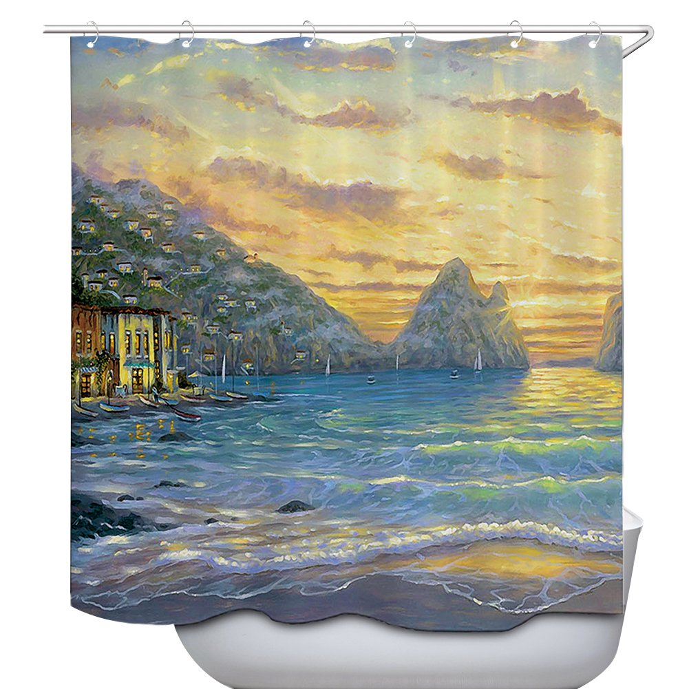 WATATA Raindrops Out of Window Impression Village Polyester Fabric Bathroom Shower Curtain Set with Hooks WTT-YL2-225-8