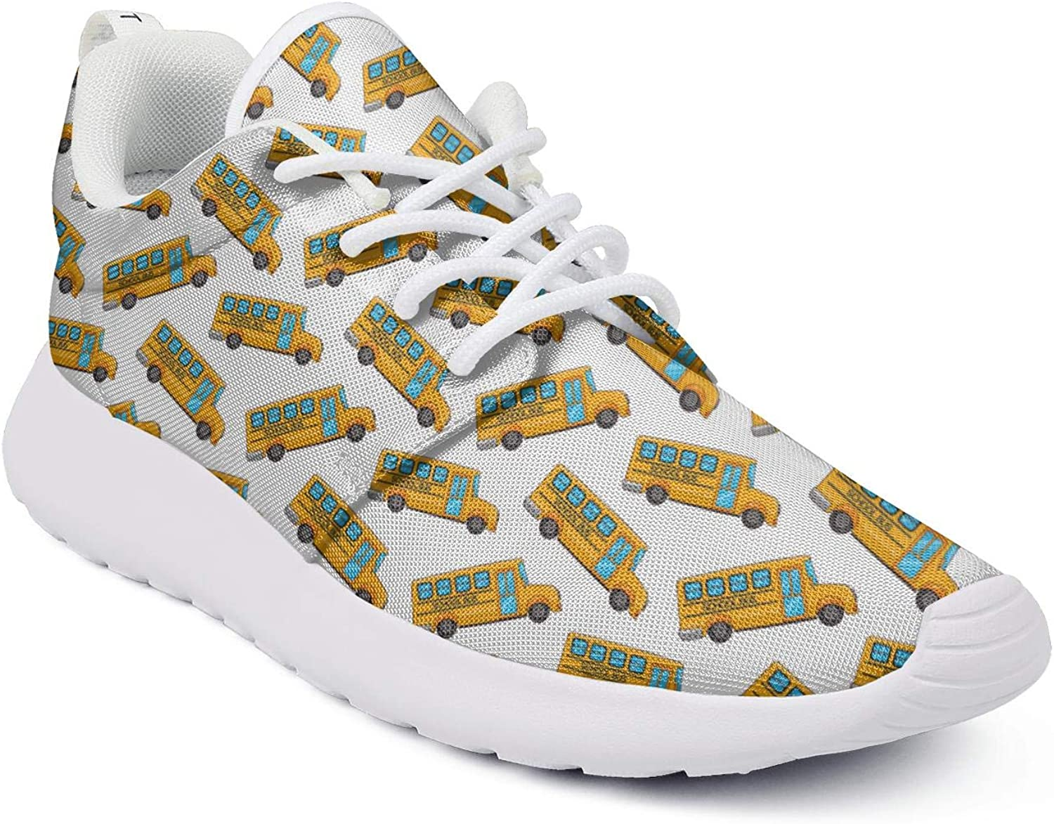 Womens Athleisure Sneakers School Bus Wallpaper Ultra Lightweight Breathable Mesh Christmas Fashion Shoes for Ladies