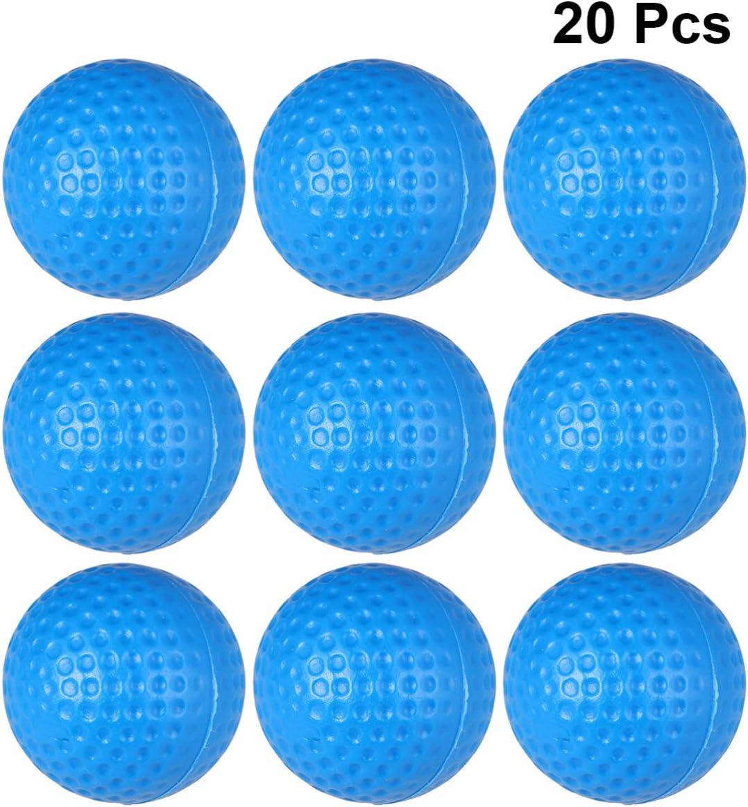 Wakauto 20 Piezas Pelota de Golf Practica Azul,Pelotas de Golf de Espuma de Poliuretano,Pelota de Golf Ninos,Bolas de Golf Plastico Duro,Pelotas de Golf Elásticas al Aire Libre