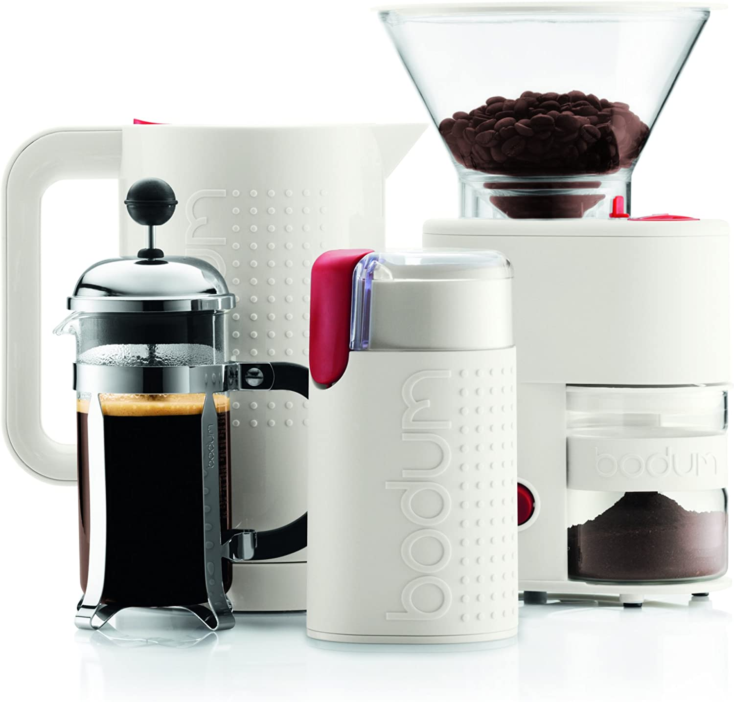 BODUM Bistro Electric Coffee Grinder Holds 60 g of Beans Red
