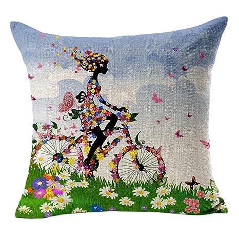 Fundas de Cojines 45x45 Vintage Floral Chica Bicicleta Funda de Almohada de Lino Algodón para Decoración del hogar (05)