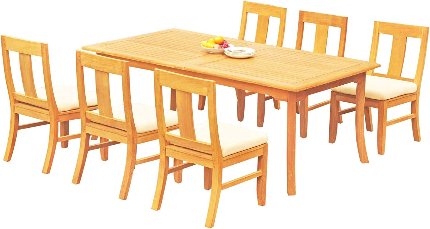 "6 Seats 7 Pcs Grade-A Teak Wood Dining Set: 118"" Double Extension Rectangle Table and 6 Osborne Armless Chairs #11OS1407 712Bycnf5IMLSL1500_"
