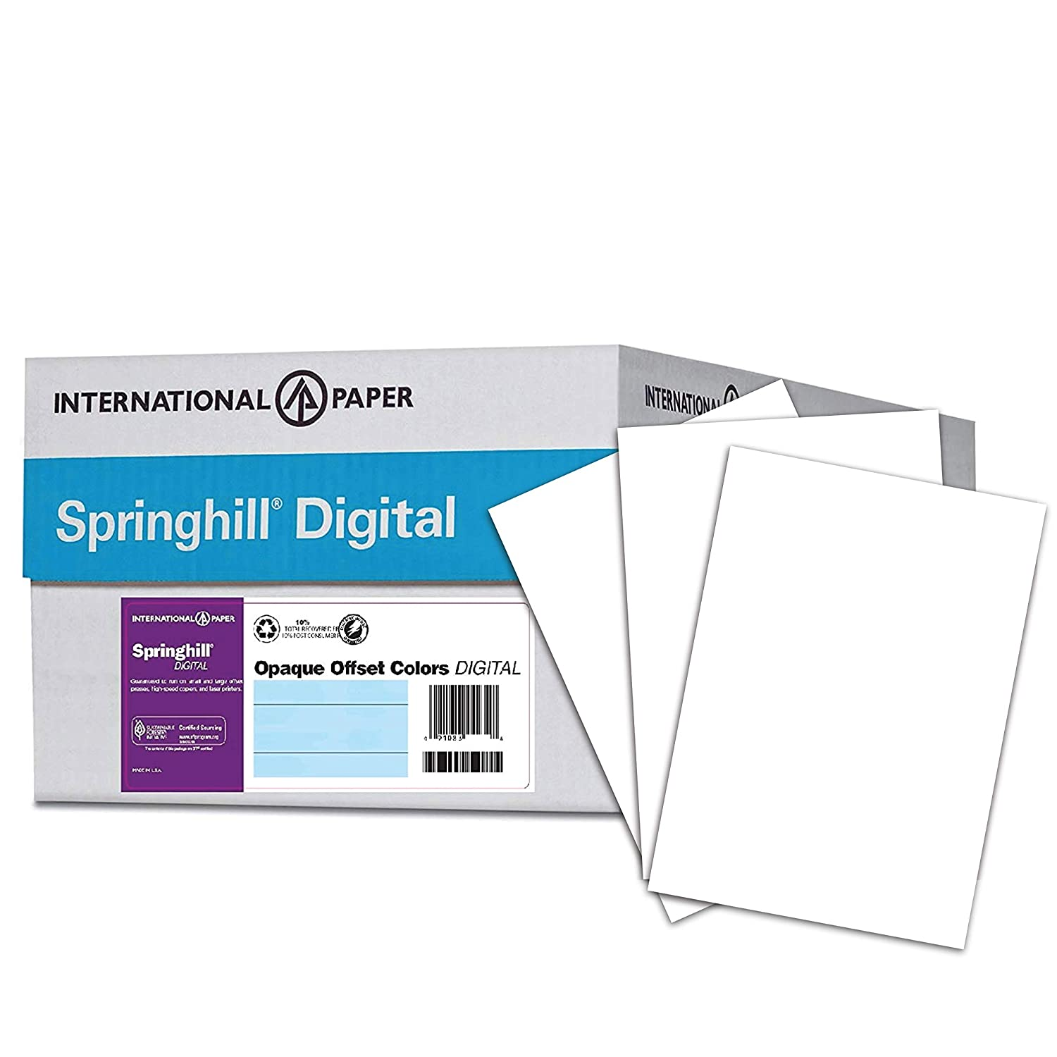 Springhill Cardstock Paper, White Paper, 90lb, 163gsm, 8.5 x 11, 92 Bright, 8 Reams / 2,000 Sheets - Index Card Stock, Thick Paper (015101C) International Paper (Office)