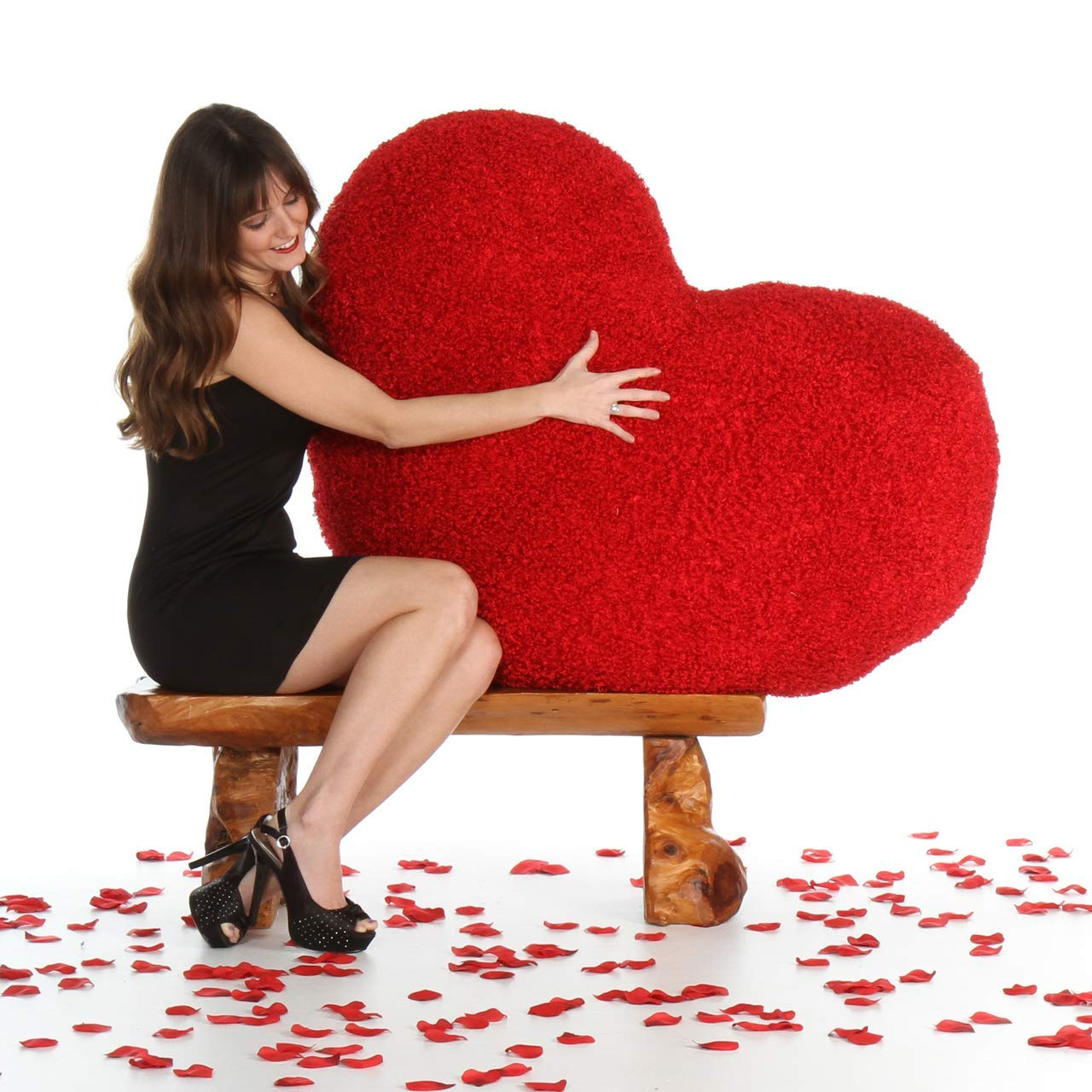 Funny Teddy Valentine Gift Special Rose Fur Heart