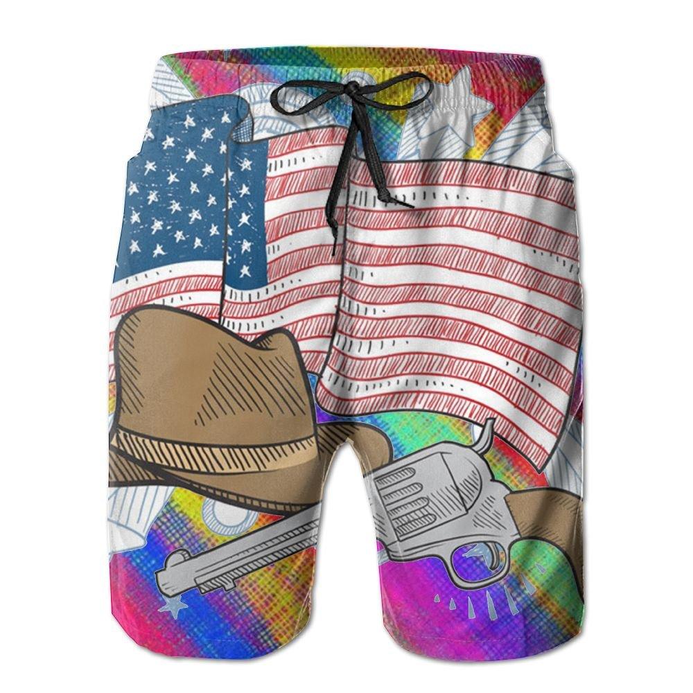 Horizon-t Beach Shorts American Western Cowboy Mens Fashion Quick Dry Beach Shorts Cool Casual Beach Shorts
