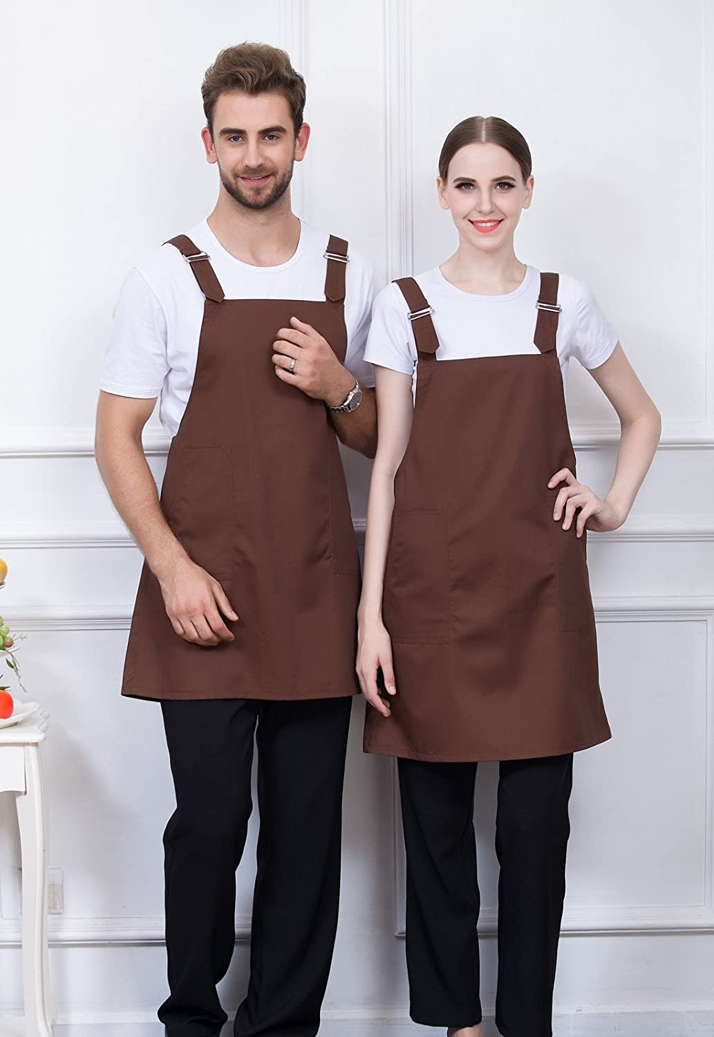 FEOYA Unisex Solid Color Aprons Overalls Soft Cotton Polyester Apron Kitchen Cooking Clothes Men Women Water Resistant Kitchen Aprons Dish Washing Chef Aprons Brown