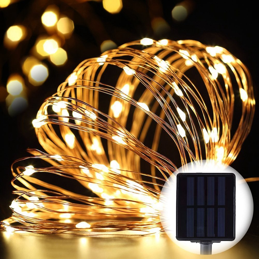 33ft Solar LED String Lights,Outdoor Waterproof Copper Wire Lights with 100 LEDs, For Garden Holiday Party Wedding Decoration - Warm White Light by Sammid