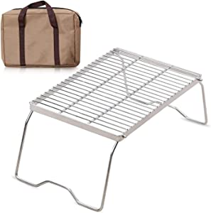 XTSKLY Folding Campfire Grill, Portable and Heavy Duty 304 Stainless Steel Camp Grill Grate, Over Fire Camping Grill with Legs and Carrying Bag for Outside Picnic BBQ, Large/Medium