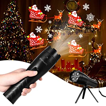 Portable Christmas Lights.Yunlights Led Christmas Lights Projector Battery Operated 12