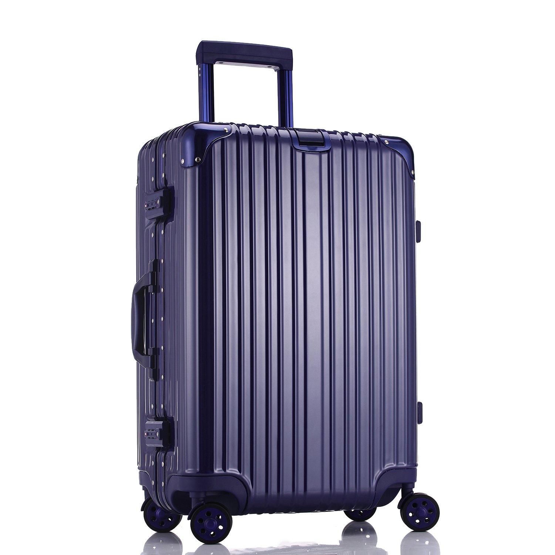 LD スーツケース TSAロック搭載 キャリーケース アルミフレーム 機内持込可 ベルトフック付き 旅行 軽量 8輪 鏡面仕上げ 9颜色 (S, ブルー) B0747Q1GCW Small ブルー ブルー Small