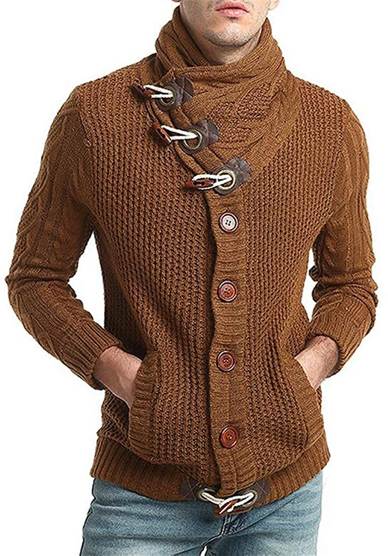 Lutratocro Mens Thicken Autumn Toggle Open Front Sweater Turtleneck Cardigan