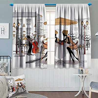 """SeptSonne-Home Fashion House Decor Window Curtain Drape Two Lady in Cafe in Old Town Street Musician Urban Fashion Theme Decorative Curtains for Living Room 52""""x63"""" Yellow White: Home & Kitchen"""