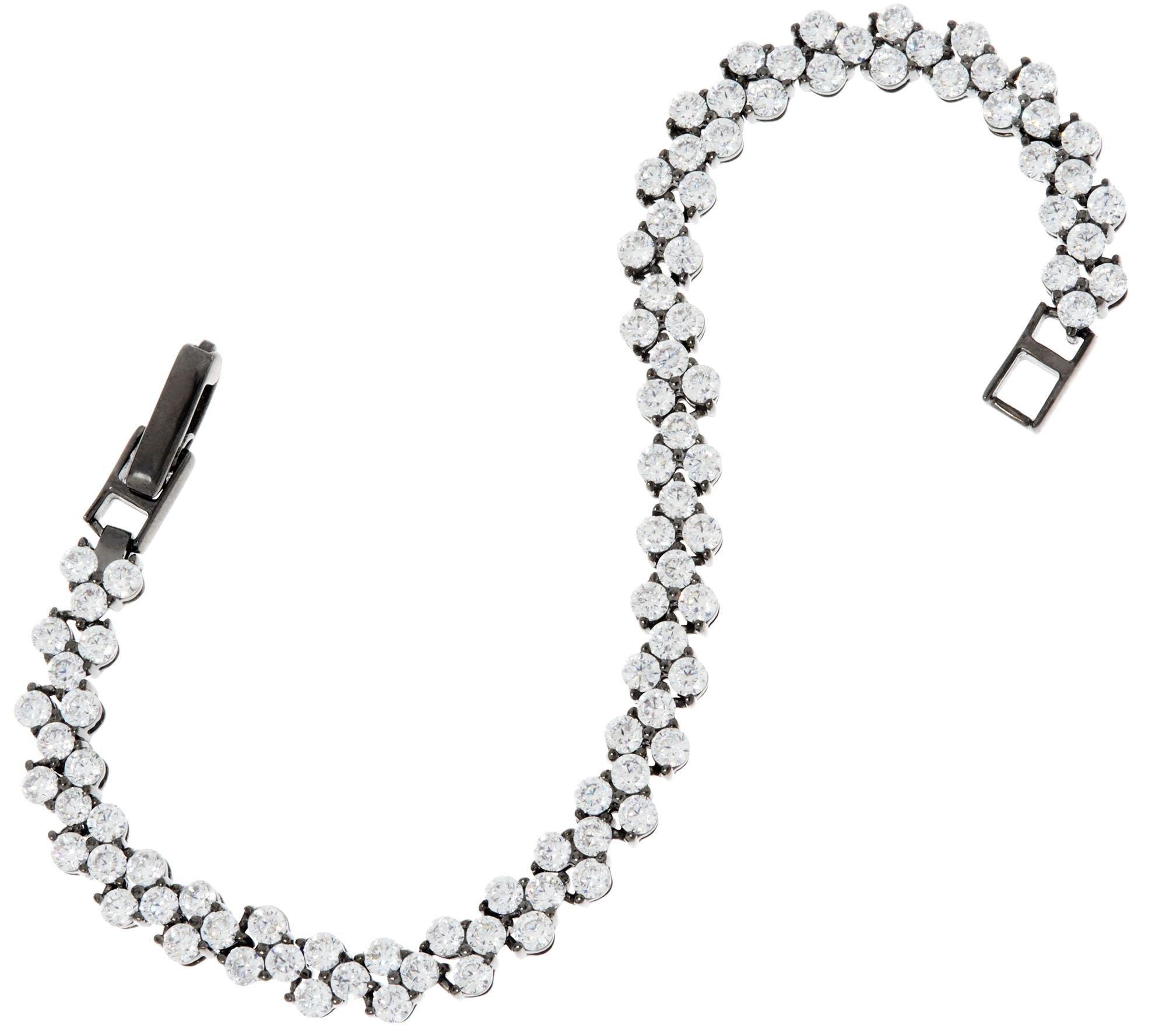 Silvostyles 4.95 cttw Round Cut D/VVS1 Diamond Black Rhodium-Plated Tennis Bracelet