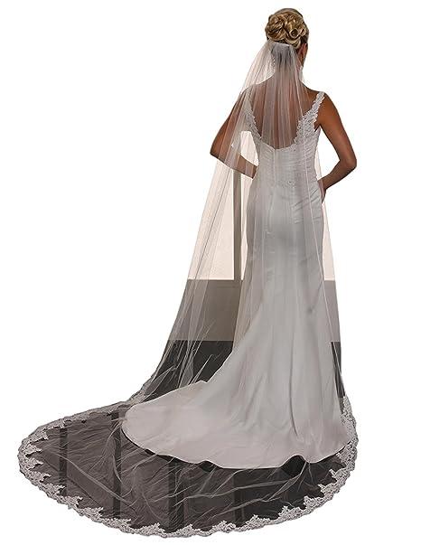 kelaixiang Women Wedding White Ivory Veils Cathedral Bridal Veils Comb