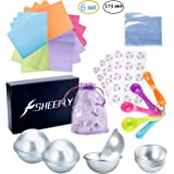 SHEEFLY 173 Pieces Bath Bomb Mold Set with 12 pcs 3 Size DIY Metal Molds, 5 Spoons, 50 Wrapping Papers, 50 Shrink Wrap Bags, 50 Stickers,5 Gift Bags for Bath Bomb Making, Handmade Soaps and Crafts