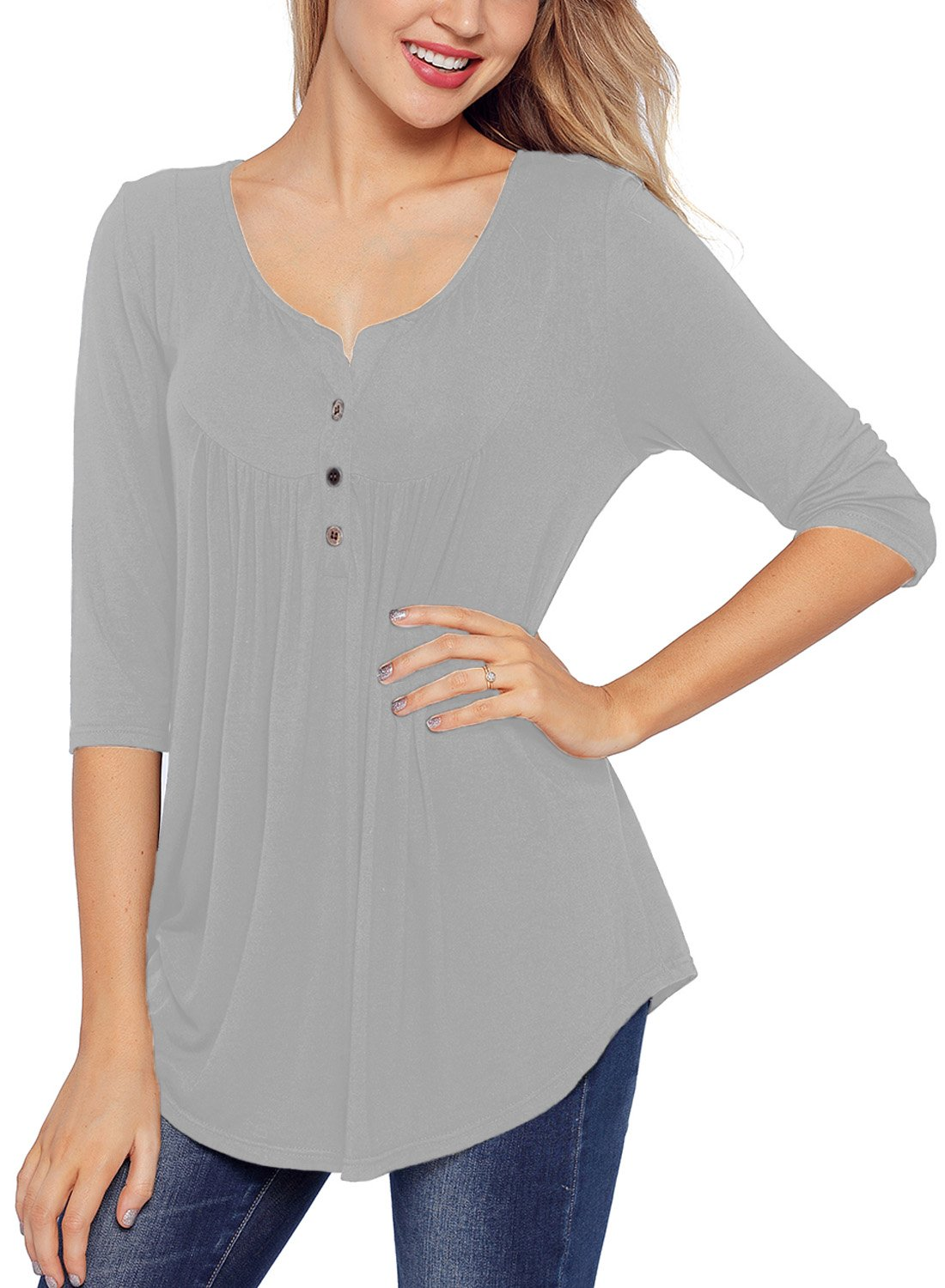 HOTAPEI Women Henley Shirts and Blouses Plus Size Solid Loose Tunic Tops for Women 3/4 Sleeve Gray X-Large