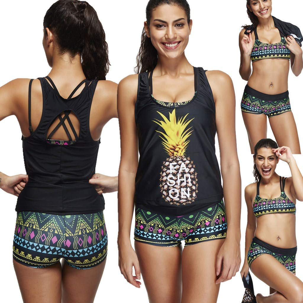 Lavany 3 Piece Athletic Tankini Swimsuit for Women Sports Swimwear Set with Boyshort