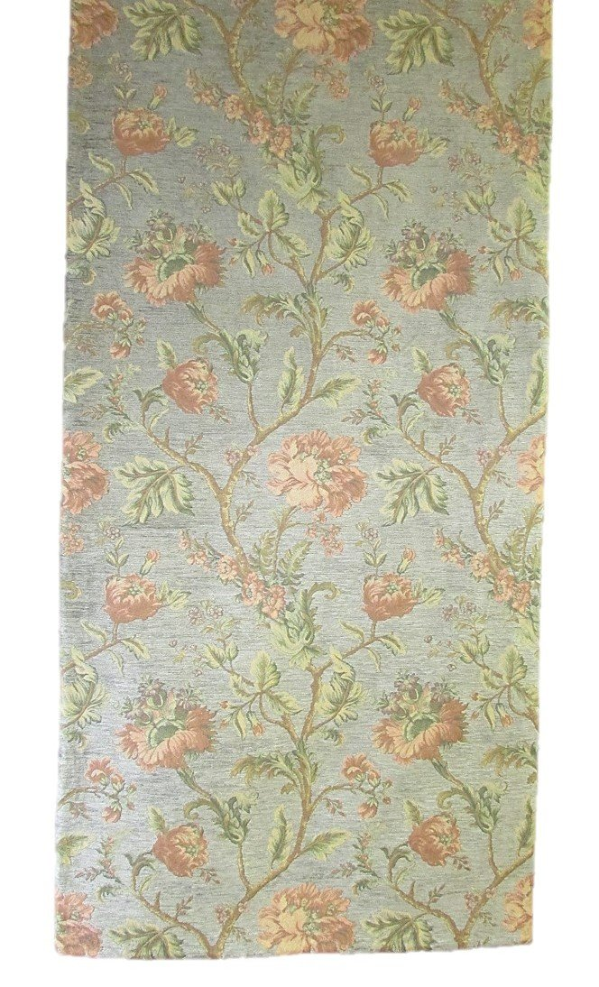 Corona Decor Extra-Wide Italian Woven Floral Table Runner, 95 by 26-Inch, Orange