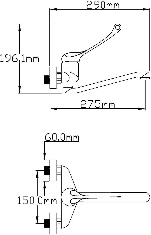 DP Grifería - Grifo de cocina, grifo monomando de pared con caño ...