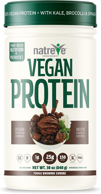 Natreve Vegan Protein Powder - Gluten Free Non-GMO Whole Food Protein with Vegetables - 30oz (Fudge Brownie Sundae)