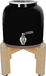Geo Premium Porcelain Crock Water Dispenser (Solid Series) w/ 8 Inch Wood Stand, Ceramic Lid, Stainless Steel Spigot Included (Solid Black Design)