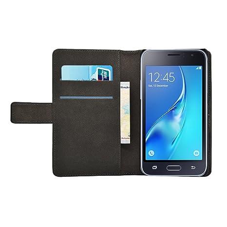 Membrane Funda Compatible para Samsung Galaxy J1 2016 / J1 2016 Duos Carcasa Negro Cartera Wallet Case Flip Cover