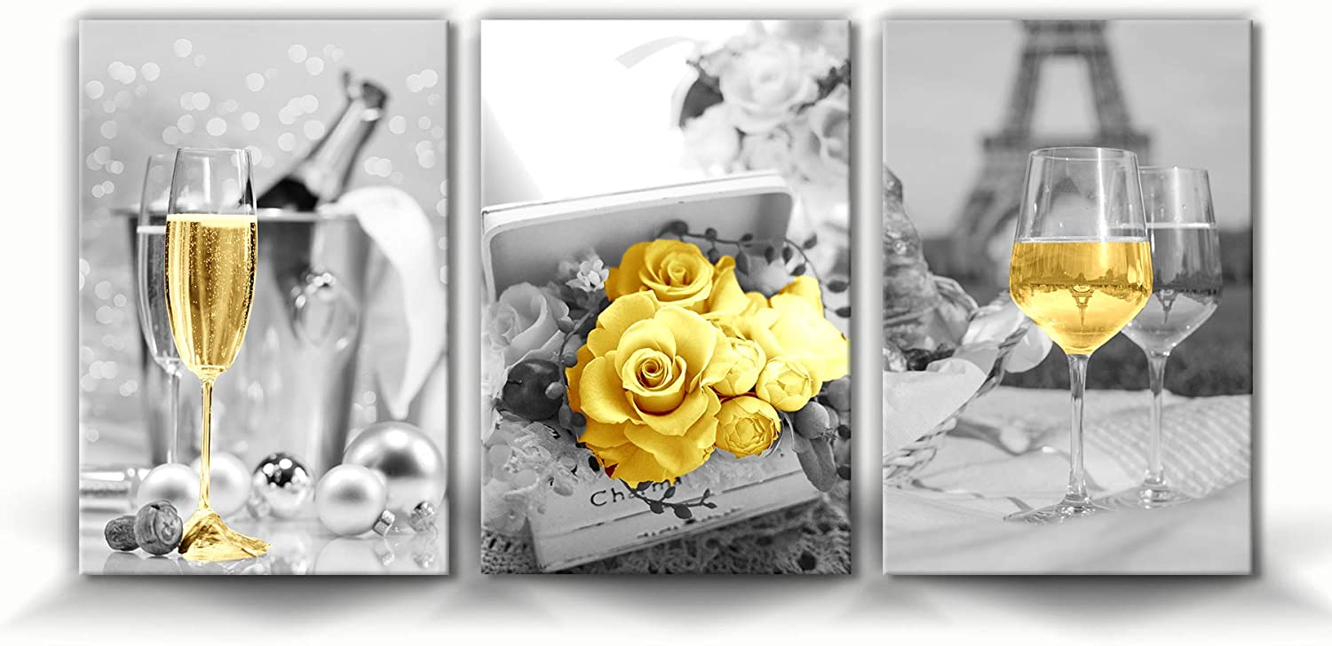 Hasakie Kitchen Wall Art Champagne Wine Painting Artwork Decor Yellow Cups Golden Rose Eiffel Tower Gray Canvas Print Framed Ready to Hang Pictures For Home Decorations 3 Pieces (16x24inch, Red Wine 01)