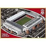Fußball - Liverpool, Anfield Stadion - Sport Poster Fußball Fussballstadion - Grösse 91,5x61 cm + Wechselrahmen der Marke Shinsuke® Maxi aus Kunststoff Gold - mit Acrylglas-Scheibe.