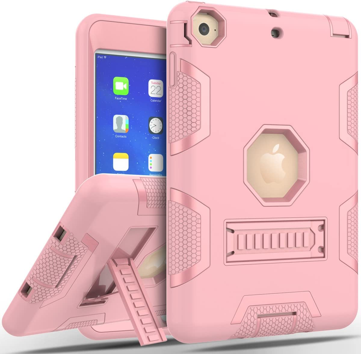 iPad Mini 1/2/3 Case, iPad 2/3/4 Case, WeLoveCase Heavy Duty Defender Case Cover with Stand Function Anti-Slip Shockproof Rugged Bumper Hybrid Protective Case for iPad Rose Gold (iPad Mini 1/2/3)