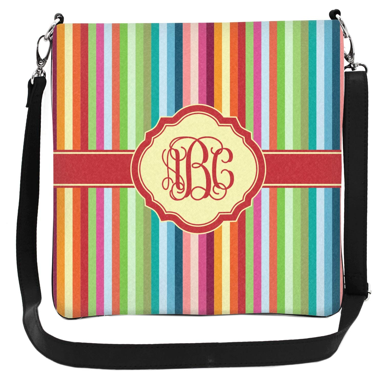 Personalized 2 Sizes Retro Vertical Stripes Cross Body Bag
