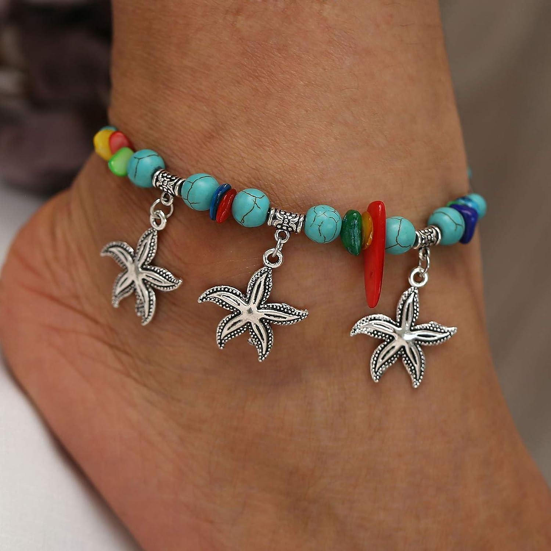 PAMTIER Ciondolo Stella Marina con Perle Turchesi Resine Colorate Cavigliere da Donna Lega