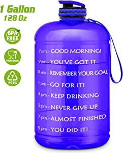 Gallon Water Bottle Portable Water Jug - Fitness Sports Daily Water Bottle with Motivational Time Marker, Leak-Proof Gym Bottle for Outdoor Camping(1 Gallon/73 oz)