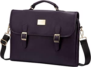 Laptop Bag for Women Leather Laptop Case Cute Computer Bag Sleeve for School Work, 15.6-Inch, Purple