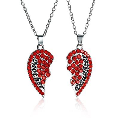 Amazon sexy sparkles necklace long link cable chain broken sexy sparkles necklace long link cable chain broken heart message mother and daughter pendants red rhinestone aloadofball Images