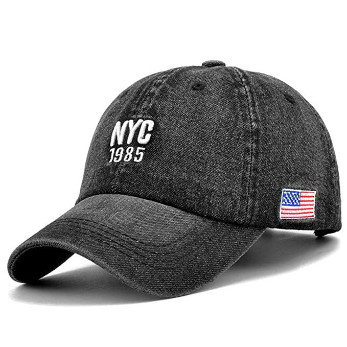 Ezyforu Baseball Cap Adults NYC US Flag Embroidery Adjustable Denim Trucker  Hat for Men and Women 666c5db6f6