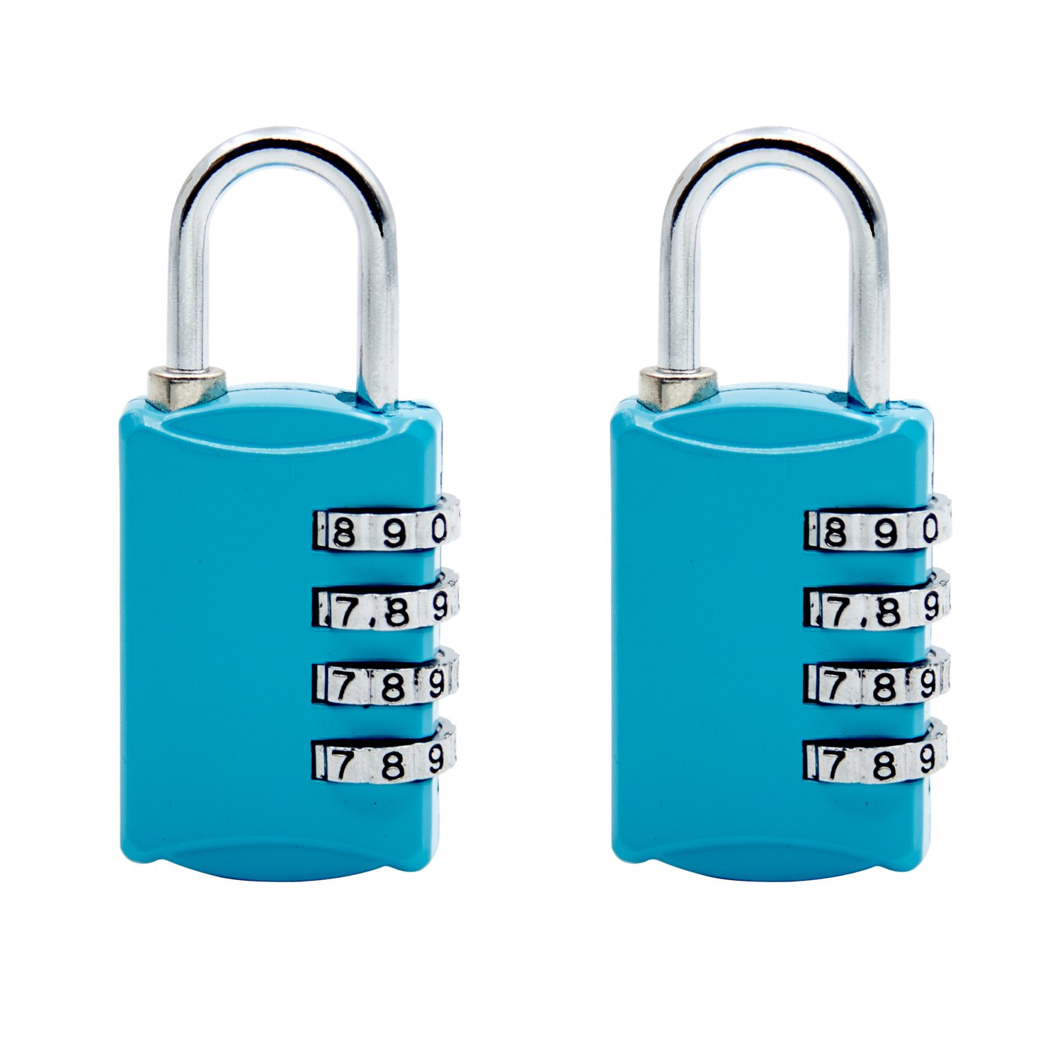 2 Pack Combination Lock, SCYA 4 Digit Pack Padlock Set for School, Employee, Gym & Sports Locker, Case, Toolbox, Fence, Hasp Cabinet Storage Locks - Zinc Alloy - Anti Rust - Weather Proof(blue)